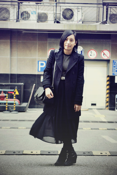 black Zara coat - black white striped JAKET sweater - black bag - white Baby Jan
