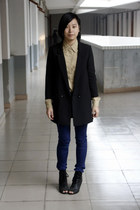 black H&M blazer - camel River Island shirt - navy twopercent pants - black Kati