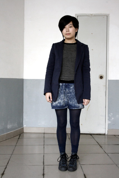 blue McQueen blazer - black JAKET sweater - blue shorts - blue coverse shoes