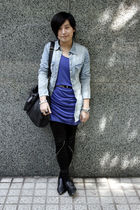 blue H&M shirt - blue twopercent dress - black twopercent belt - black 5cm leggi