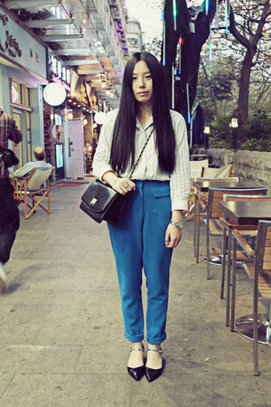 black CHOC boutique bag - heather gray Uniqlo shirt - blue Evian Vintage pants