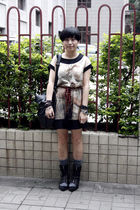 beige dress - orange belt - black DIZEN purse - gray stockings - black shoes