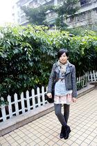 gray jacket - blue H&M shirt - pink dress - gray H&M leggings - gray H&M stockin