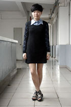blue NANING9 shirt - black chapel dress - black puzzle shoes