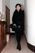 black scarf - black Zara coat - black purse - black gloves - black Katie Judith