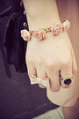 Light-pink-h-m-bracelet-peach-lovehellopanda-dress-black-rubi-bag