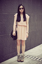 peach lovehellopanda dress - black rubi bag - dark brown Marc Jacobs sunglasses