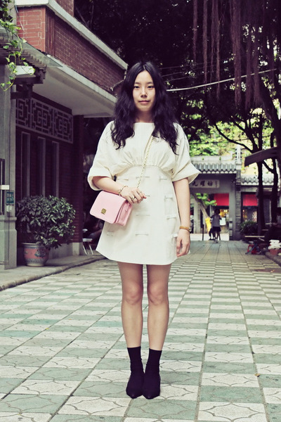 white wingfree dress - pink CHOC boutique bag - black H&M socks