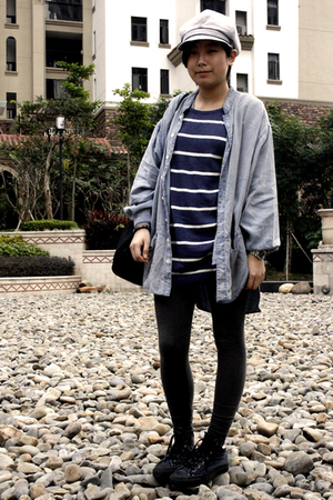 gray Uniqlo hat - blue H&amp;M dress - blue FIRST MING shirt - gray H&amp;M leggings - b