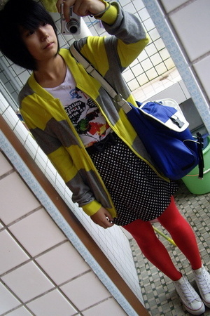TH coat - t-shirt - TH belt - handmade skirt - TH purse - Converse shoes