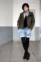 green ZEEK jacket - blue H&M shirt - black S-X sweater - blue Uniqlo shorts - bl