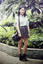 black Bata boots - light blue shirt - black rubi bag - navy polka dots shorts