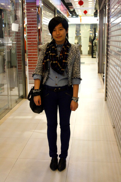 blue scarf - black jacket - blue NANING9 shirt - blue twopercent pants - black d