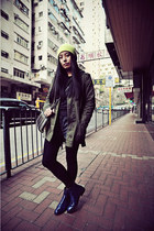 light yellow H&M hat - navy CHOC boutique boots - army green hello-miffy jacket