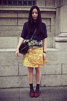 yellow front row skirt - navy chapel shirt - dark gray H&M socks