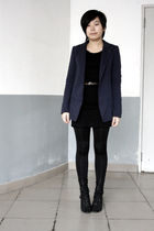 blue McQueen blazer - black dress - brown Mango belt - black leggings - black Ka