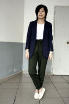 blue McQueen blazer - white H&M t-shirt - green Uniqlo pants - white shoes