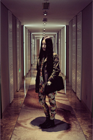 orange Monki leggings - navy CHOC boutique boots - army green hello-miffy jacket
