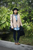 bronze H&M shoes - black DIZEN coat - navy chapel leggings - tan blazer - blue d