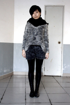 black scarf - gray Topshop sweater - gray shorts - black leggings - black shoes