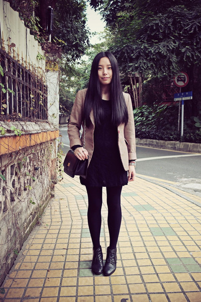 black Bata boots - black chapel dress - brown vintage blazer