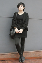 black H&M scarf - black dress - black leggings - black dizen de brand purse - bl