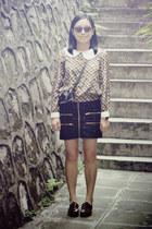 leeloo blouse - shoes - H&M sunglasses - checked twopercent skirt