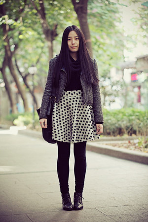 black Bata boots - dark gray Sukiired jacket - black Uniqlo sweater