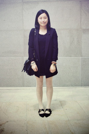 black Riiika shoes - black lace chapel dress - black H&M blazer - white tights -