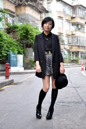 black H&M blazer - black chapel shirt - black 5cm hat - black belt - black short