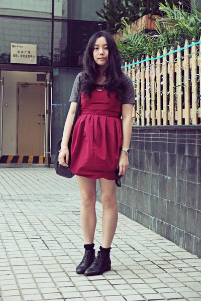black Bata boots - ruby red wingfree dress - black Paper minT bag