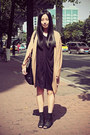 Black-izzue-dress-black-dizen-bag-camel-sukiired-cardigan