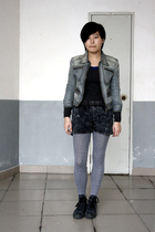blue blues heros denim jacket - gray sweater - gray shorts - gray tights - blue
