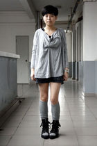 gray AVEC homme t-shirt - gray shorts - gray cotton on stockings - black shoes