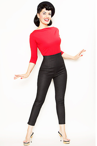 red cardigan - black pants