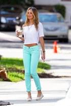 cream shirt - light blue pants