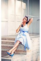 sky blue Nishe dress - navy asos bag - sky blue asos accessories