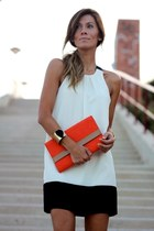 ivory dress - carrot orange bag