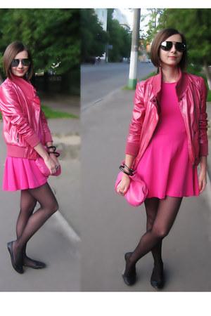 hot pink dress - bubble gum jacket