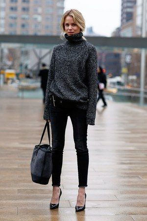 dark gray jeans - heather gray sweater