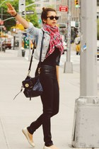 black bag - hot pink scarf - black pants