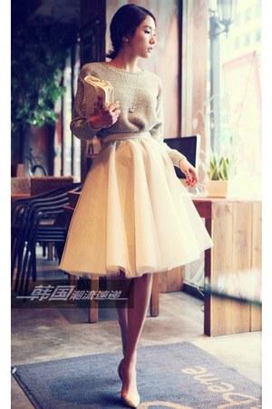 mustard skirt - tan sweater