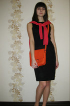 black no name dress - carrot orange Intertp bag