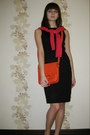 Black-no-name-dress-carrot-orange-intertp-bag