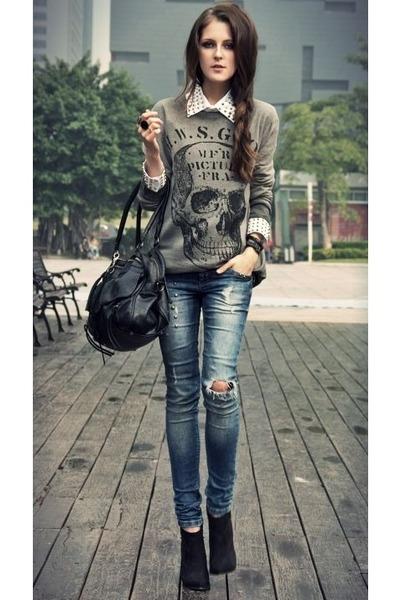 dark khaki sweater - teal jeans