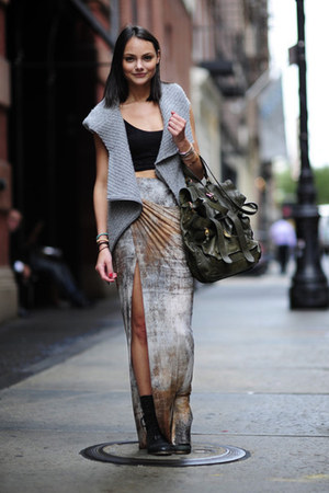 periwinkle skirt - silver cardigan
