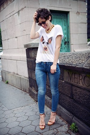 white top - teal jeans