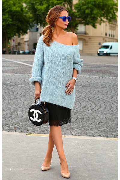 H&M dress - VANESSA BRUNO sweater - Chanel bag - Topshop sunglasses - Aldo heels