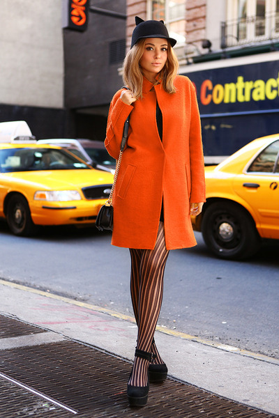 Zara dress - Zara coat - Eugenia Kim hat - Chanel bag - Topshop heels