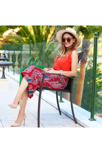 Eugenia Kim hat - Hermes bag - Woodsun sunglasses - H&M top - Aldo heels